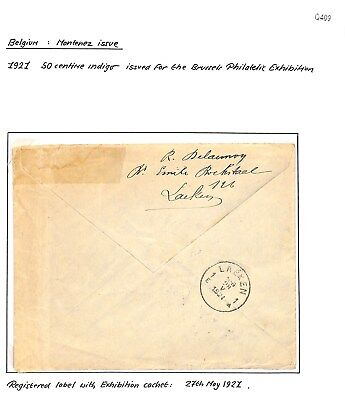 Q409 - Belgium 1921 cover Registered at Brussels Philatelic Exhibition