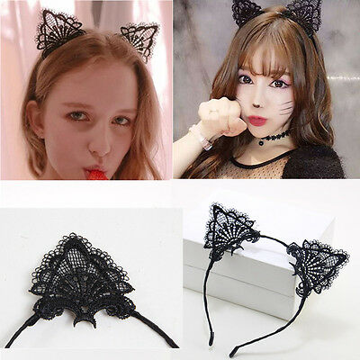 Black Lace Cat Ears Headband Halloween Fancy Dress Party Festival Hen Night