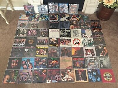 Massive Lot Of 60 Vinyl 45s Hair Metal 80s Hard Rock Def Leppard Poison Motley +