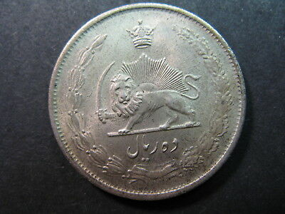 Iran Lightly Circulated Silver 10 Rials Coin Dated Ah1323-1944, Nice Toning,