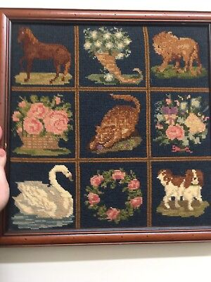 "ELIZABETH BRADLEY NEEDLEPOINT EMBROIDERED TAPESTRY Framed ""PATCHWORK PIECES'"