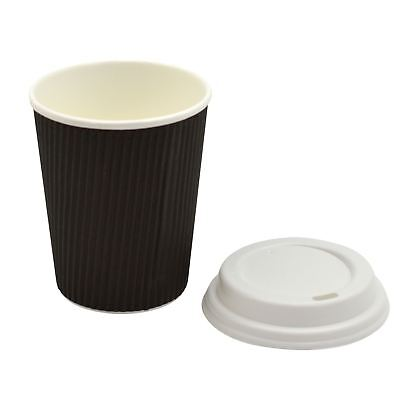 Disposable Coffee Tea Hot Drinks Ripple Paper Black Cup & White Lid - 8oz - x20