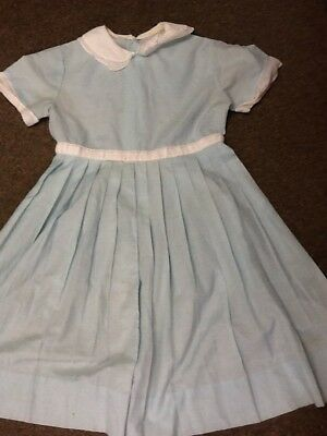Vintage Girls Childs Dress Blue White Buttons