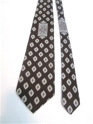 Great Mens Vtg 1970s Necktie Tie Wide Double Knit Polyester Brown Woven Designs