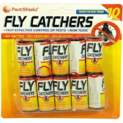10  Insect Fly Catchers Killer Sticky Tape Strip Paper Pest Bug Wasp Window New