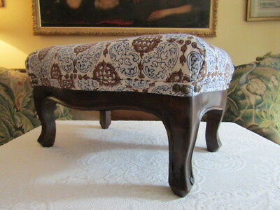 Antique Walnut Footstool Upholsltered in John Robshaw Fabric