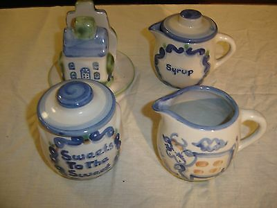 M A Hadley Country Scene Creamer, Honey Pot, Lace Syrup & Napkin Holder 8531