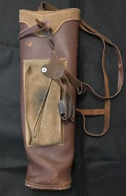Vintage Leather Archery Arrow Quiver Pouch With Strap NICE!!!