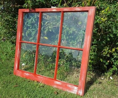 Architectural Salvage ~ C. 1960s RUSTIC BARN RED, Antique Window Sash 32x28