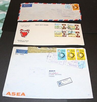 Bahrain, 3 covers sent to Sweden in the 1970's