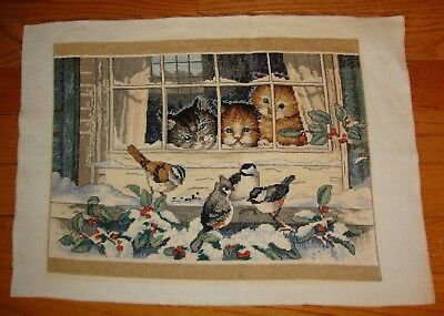 Embroidered Cross Stitch Sampler KITTENS & BIRDS Completed THREE BIRD WATCHERS