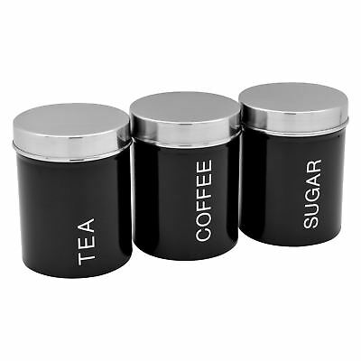 Metal Tea, Coffee, Sugar Canisters Storage Set - Black