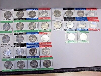 Thirty 2005 State Quarters P, D, & S Mints