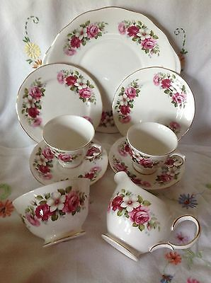 Vintage china Queen Anne afternoon tea trios, sugar milk and cake plate.
