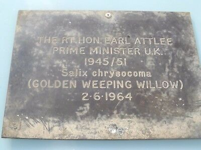 1964 Uk Prime Minister Rt Hon Earl Attlee Weeping Willow Bronze Memorial Plaque