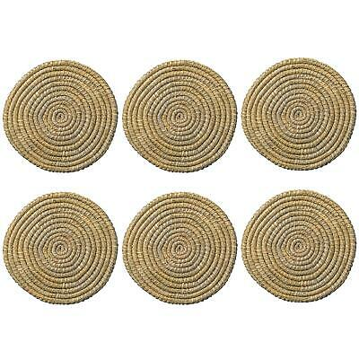 Round Straw Placemats Water Hyacinth Weave Rattan Drinks Mat - Palm Leaf - x6