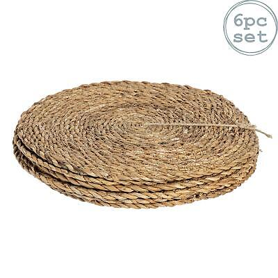 Round Straw Placemats Water Hyacinth Weave Rattan Drinks Mat - Typha - x6