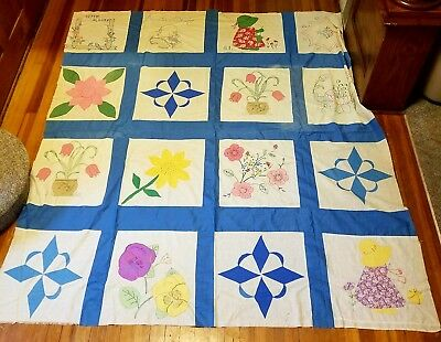 Antique Early 1900's Random Pattern Handsewn Patchwork Quilt Top Topper 72 x 80