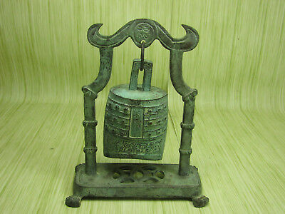 Antique Brass Asian Style Hanging Percussion Bell Aged Green Oxidized