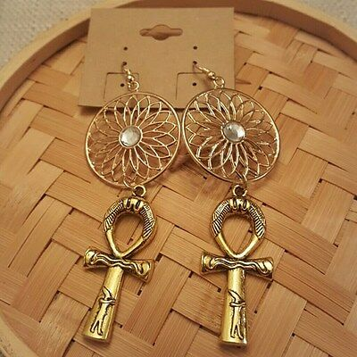Gold tone with centered Gold Disk Circle Dangle Pewter Ancient Egypt