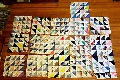 16 Antique Early 1900's Sawtooth Handsewn Patchwork Quilt Blocks Squares 14 x 14