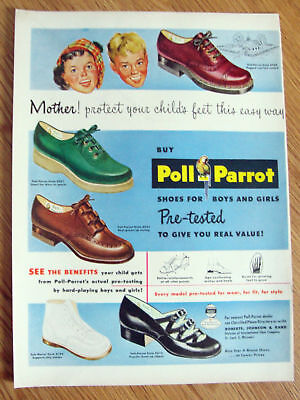1949 Poll Parrot Shoes Ad  Boys & Girls