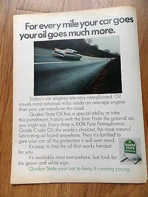 1968 Quaker State Oil Ad For Every Mile your Car Goes Oil Goes Much More