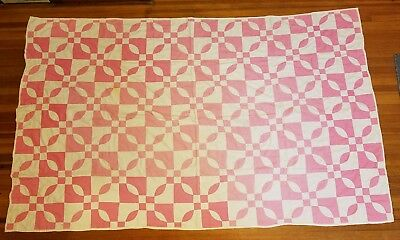 "Early 1900's Cathedral Window Handsewn Patchwork Quilt Pink & White 48"" X 81"" NR"