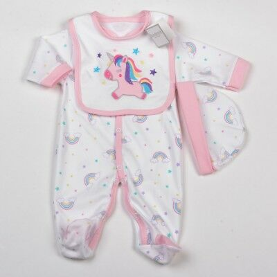 Baby Girls 3 Piece Layette Set Unicorn & Rainbows Design Outfit by Aardvark Baby