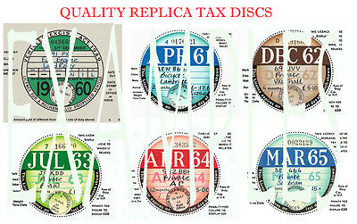 Tax Discs' 6 Quality Replicas^ For  Discerning Owners.all Years From 1921-2020:>