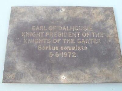 1972 Earl Dalhouse President Knights Of The Garter Tree Bronze Memorial Plaque