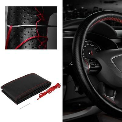 Black DIY Leather Car Truck Auto Steering Wheel Cover With Needles and Thread UP