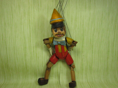 Wooden Carved Pinocchio Puppet Disney Design Painted