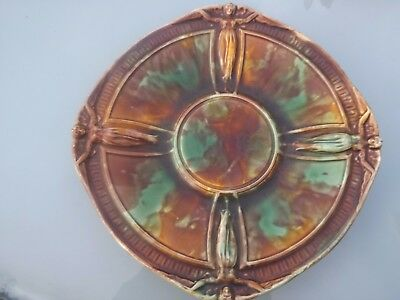 Antique Wedgwood Majolica Plate - Unusual Design - Signed Twv
