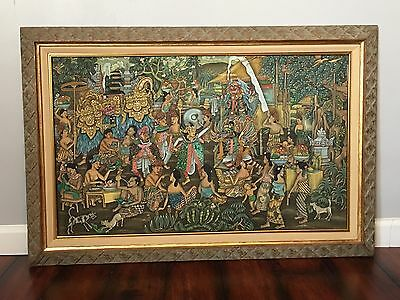 INDONESIAN Large FRAMED WALL ART Signed Bali Balinese Parade Of The Barong