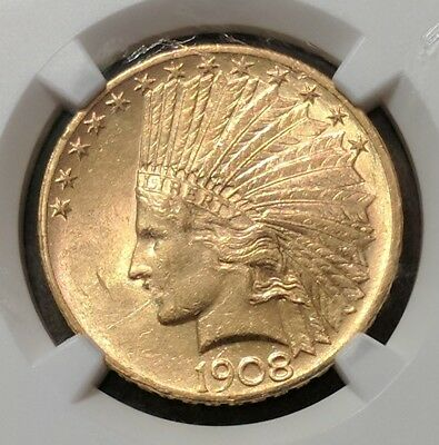 1908 $10 Indian Gold with Motto!  NGC AU 58, Looks MS!  Priced to sell!