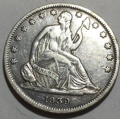 1839 SEATED LIBERTY HALF DOLLAR - First Year - Almost Perfect - 90% SILVER