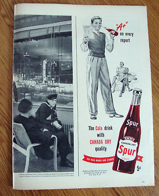1944 Spur Soda Bottle Ad Report Card  A+