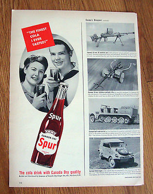 1943 Canada Dry Spur Cola Soda Bottle Ad  Sailor & Lady