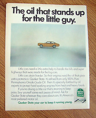 1971 Quaker State Motor Oil Ad The Oil That Stands up for the Little Guy Ford ?
