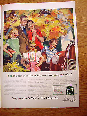1940 Quaker State Motor Oil Ad Chevy Olds Ford Plymouth