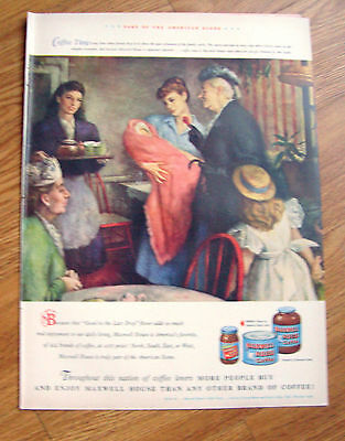 1948 Maxwell House Coffee Ad Pleasures of Family Circle