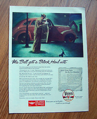 1945 Veedol Motor Oil Ad  Mr Bell gets a Black Hand Note