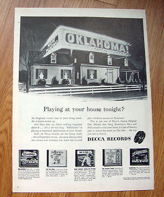 1946 Decca Records Ad  OKLAHOMA  playing at your House