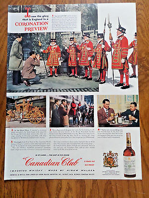 1953 Canadian Club Whiskey Ad England on a Coronation Preview