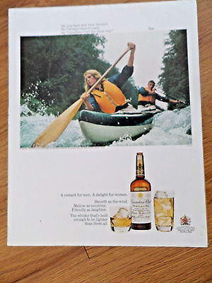 1968 Canadian Club Whiskey Ad  Couple Canoeing
