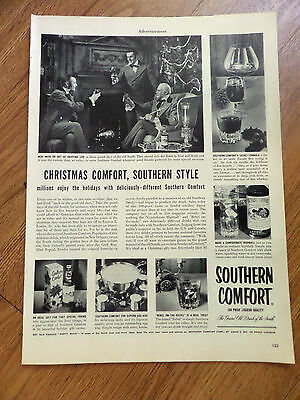 1952 Southern Comfort Liquor Whiskey Ad Christmas Comfort, Southern Style