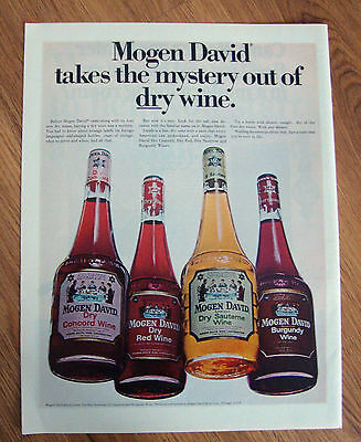 1967 Mogen David Wines Ad  Takes the Mystery out of Dry Wine