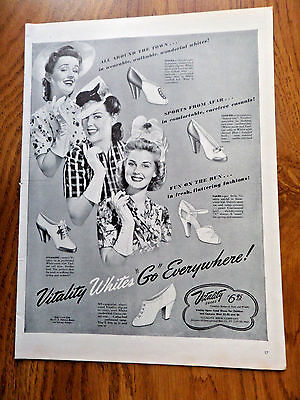 1942 Vitality Shoes Ad  Whites GO Everywhere