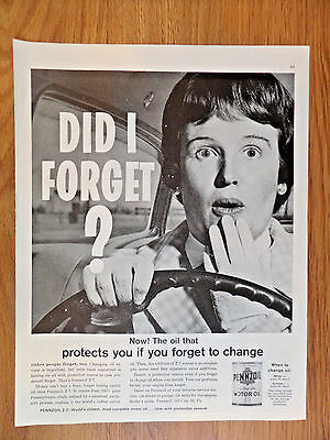 1962 Pennzoil Motor Oil Ad Z-7   Did I forget?